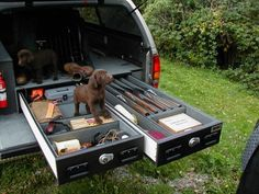 Truck vaults. Keep all your hunting gear safe in this hidden, locked up, fireproof safe. Ready when you are!
