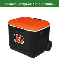 Coleman Company NFL Cincinnati Bengals Performance Cooler, 60 quart, Black/Orange. Take your spirit of the team with you whenever a cooler is needed. The new, stylish convenience of a Coleman 60 Quart Wheeled Cooler with you to the party-at the tailgate, BBQ or campsite. While your friends revel in the sleek new look, you'll enjoy the added improvements that better fit your lifestyle. The redesigned 60-quart cooler is tall enough to hold 2-liter bottles upright and large enough to hold up…