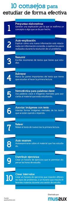 10 Consejos para Estudiar de Forma Efectiva | #Infografía #Educación
