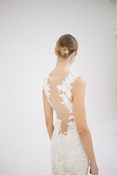 "It's all about that back I ""Nicole"" Amsale Spring 2015 - Slim, corded lace gown with silk chiffon underlay and back lace applique."