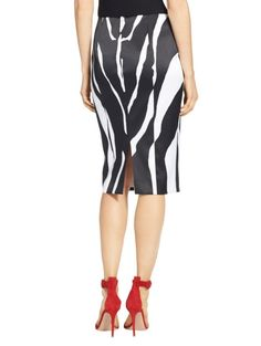 Zebra Print Stretch Satin Skirt