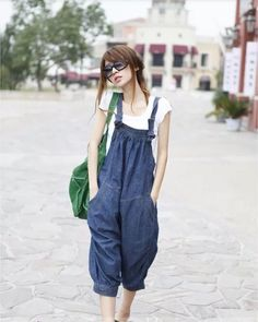 Blue loose overall