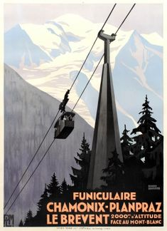 Chamonix Planpraz Le Brevent Cable Car PLM Art Deco Roger Broders 1930s - original vintage winter sport poster by Roger Broders listed on AntikBar.co.uk