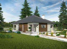 Dom wśród drzew - Murator C332, to zgrabny, parterowy dom z ciekawie zaprojektowanym wnętrzem i bogatym zapleczem gospodarczym.