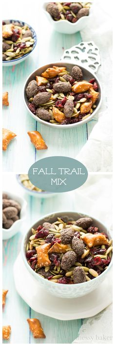 Easy Fall Trail Mix made with pumpkin seeds, dried cranberries, peanut butter filled pretzels, and dark chocolate covered almonds