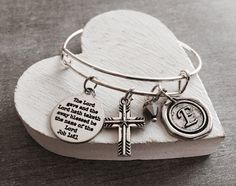 The lord gave and, the lord hath, taken away, Taketh away, Job 1 21, Memorial, Bereavement, Scripture, Silver Bracelet, Charm Bracelet, Gift by SAjolie, $25.95 USD