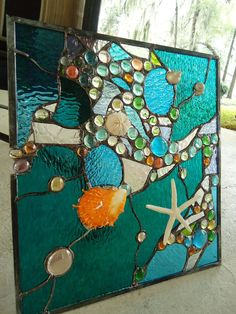 Stained Glass Window Tropical Starfish Sea Shell  by HelioGlass, $165.00