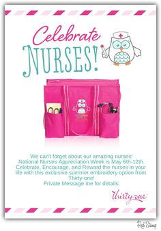 Go the extra mile for the nurse in your life with this adorable nurse owl embroidery available on the Thirty-one Spirit Collection in the Summer 2014 catalog! Contact me for more info via http://www.mythirtyone.com/jenfreed