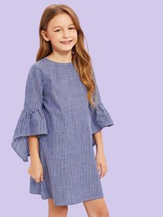 Для девочек платье в полоску с оборками рукавами
