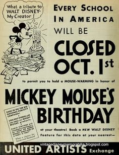The funny thing about this ad was that schools were really closed on October 1, 1932. Just not in honor of Mickey's birthday. October 1, 1932, was a Saturday! Some clever marketing.