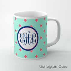 Mint and coral colors design coffee cup with navy monogramDesign your own coffee cup with us!We can print it in every pattern or color.When you ready to purchase? Please provide the following information in the notes section when you check out: 1: Name , letter or monogram in order of First, LAST,