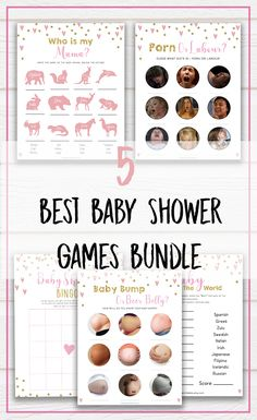 Hilarious 5 Best Baby Shower Games - Instant Download #babyshowerideas #babyshowergames #itsagirl #babyshowerdecorations #games #instantdownload #printable