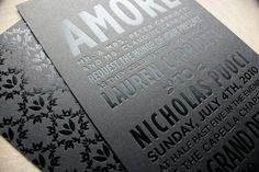 black on black invite and pattern.  chic.