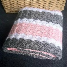 Etsy - Crochet Girl Baby Blanket - Hand Made Pink, Grey and White Afghan - Pink and Grey Striped Throw by scarletngreycrochet on Etsy Crochet Baby Blanket - Crochet Baby Afghan in Purple, Aqua, and Grey African Flower Square Baby - Violet Nursery Decor We Afghan Patterns, Crochet Blanket Patterns, Baby Blanket Crochet, Baby Patterns, Crochet Stitches, Knit Crochet, Knitting Patterns, Crochet Double, Crochet Blankets