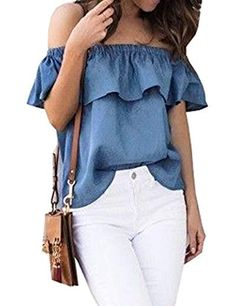 ebed0a2fb25d5 Pivaconis Women Summer Ruffle Off Shoulder Strapless Denim Blouse Top Shirt  As Picture XS