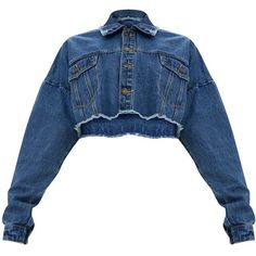 Mid Wash Cropped Denim Jacket ($45) ❤ liked on Polyvore featuring outerwear, jackets, cropped jean jacket, denim jacket, blue jean jacket, blue jackets and blue cropped jacket