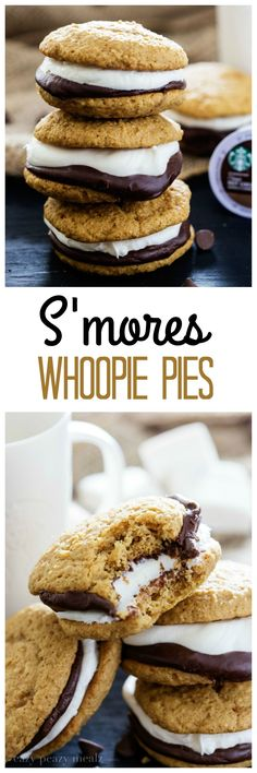 Whoopie Pies S'mores Whoopie Pies are intoxicatingly delicious. - Eazy Peazy MealzS'mores Whoopie Pies are intoxicatingly delicious. Pie Recipes, Baking Recipes, Sweet Recipes, Cookie Recipes, Dessert Recipes, Vegan Recipes, Drink Recipes, Recipies, Whoopie Pies