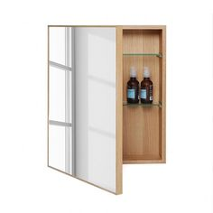 Natural Oak Mirrored Wooden Slimline Bathroom Cabinet from Wireworks Slimline Bathroom Cabinet, Wooden Bathroom Cabinets, Mirror Cabinets, Bathroom Medicine Cabinet, Armoire Makeover, Toilet Brushes And Holders, Jewelry Cabinet, Towel Rail, Bathroom Interior Design