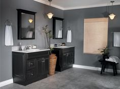 Amazing Master Bathroom Design Ideas With Dark Grey  Painted Wall And Natural Bamboo Curtain Also Black Bathroom Cabinet Feats Classic Interior And White   ...