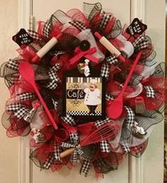 """Cafe """"Kiss the Cook"""" Wreath, Kitchen Utensila, Italian Chef, Deco Mesh, Ribbon by SouthTXCreations on Etsy"""