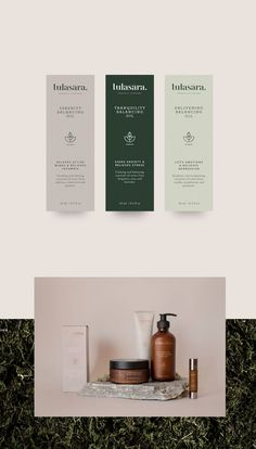 A cosmetic brand identity with stationery, labels and packaging design. A natural and modern brand. Cosmetic Packaging, Beauty Packaging, Brand Packaging, Kids Packaging, Label Design, Logo Design, Graphic Design, Brand Design, Package Design