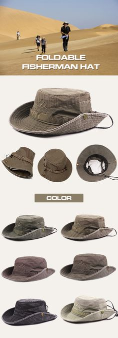 Mens Summer Cotton Embroidery Visor Bucket Hats Fisherman Hat Outdoor Climbing Mesh Sunshade Cap