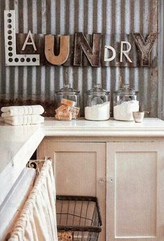 Laundry ideas like the basket maybe hang on wall