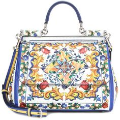 Dolce & Gabbana Miss Sicily Medium Printed Leather Shoulder Bag (4,465 CAD) ❤ liked on Polyvore featuring bags, handbags, shoulder bags, borse, multicoloured, dolce gabbana handbags, dolce gabbana shoulder bag, colorful purses, multi colored handbags and leather handbags
