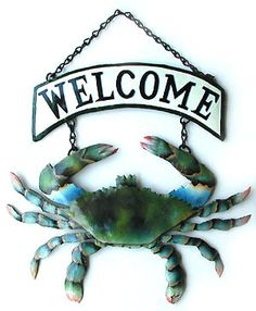 TROPICAL HOME DECOR - Hand Painted Metal Blue Crab Outdoor Decor Welcome Sign  - www.TropicAccents.com
