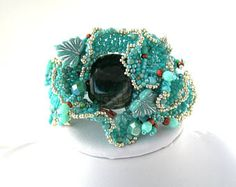 Turquoise jewelry Turquoise bracelet Beaded cuff Bead jewelry Gift for women Handcrafted gift Statement jewelry