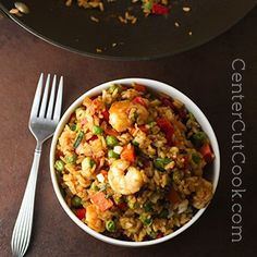 Enjoy Chinese takeout at home with this delicious recipe for Chinese Fried Rice! Options for vegetarian, shrimp, or chicken! Rice Recipes, Seafood Recipes, Asian Recipes, Great Recipes, Chicken Recipes, Dinner Recipes, Cooking Recipes, Healthy Recipes, Favorite Recipes