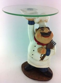 Fat Chef Kitchen Statue Food Plate Candy Figurine Table Top Art 64137: Home & Kitchen