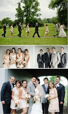 Pink bridesmaids... light grey groom... dark grey groomsmen..