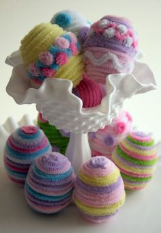 Pajama Crafters: Easter plastic egg covered in pipe cleaners