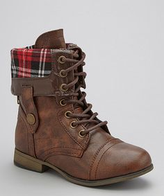 Look what I found on #zulily! Link Brown Plaid Legend Boot by Link #zulilyfinds