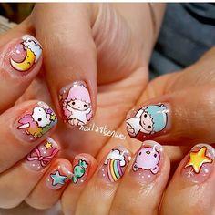 Kawaii weather 😍😄🌞🌚🌩 all hand painted Kawaii Nail Art, Cute Nail Art, Cute Nails, Pretty Nails, Vintage Nails, Unicorn Nails, Disney Nails, Best Acrylic Nails, Mo S