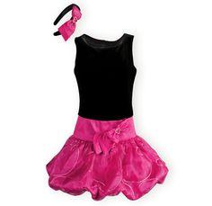 Girls sleeveless, drop-waist party dress. Black poly/spandex stretch velvet bodice atop shimmering fuchsia poly taffeta. Ribbon swirls adorn organza