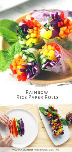 Fresh, healthy and vegan-friendly Rainbow Rice Paper Rolls with peanut hoisin sauce. Get this super easy Rainbow Rice Paper Rolls recipe. Recipe by Asian Inspirations. Salsa Hoisin, Hoisin Sauce, Rainbow Rice, Rainbow Food, Healthy Asian Recipes, Vietnamese Recipes, Rice Rolls, Vegan Rice Paper Rolls, Rice Paper Recipes
