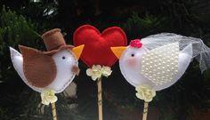 Topo de bolo casal passarinhos Feltro