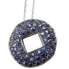 Pre-owned Pomellato 18K White Gold Sapphire Pendant Necklace ($3,550) ❤ liked on Polyvore featuring jewelry, necklaces, white gold chain necklace, sapphire pendant necklace, chain pendants, sapphire necklace and 18k necklace