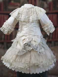Antique French Silk Satin Dress for Jumeau, E.J.,  Bru, Steiner, Eden bebe doll about  20-21""