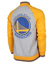 ADIDAS GOLDEN STATE WARRIORS GREY YELLOW BASEBALL JACKET A95418  130 72e683773