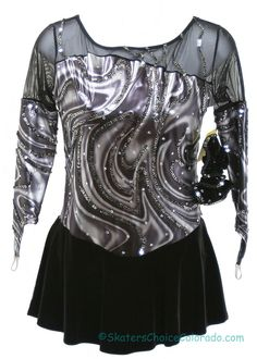 Consignment Twizzle Shimmer Grey Black Metalic Sequins Adult M at www.SkatersChoiceColorado.com