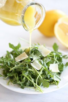 Refreshing spring and summer salad   arugula salad with lemon vinaigrette Sweeten your salad dressing naturally with Madhava    madhavaseeteners.com