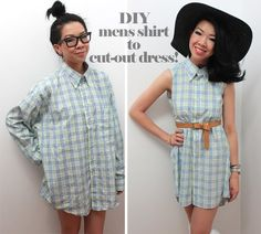 Syl and Sam: tutorial - mens shirt to cut-out dress // don't like the back but I like the idea to refashion men's shirts