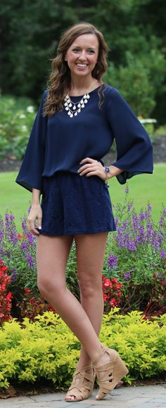 Ready For The Weekend Navy Romper  -  Monday Dress