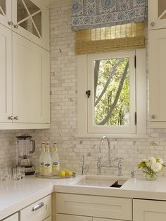 """My peronsalised Pinterest boards seem to be disappearing and the generic ones are coming back? Is that happening to anyone else? I do love this """"marble subway tiles"""" kitchen though."""