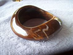 Chunky Vintage Marbled Brown Bangle Bracelet