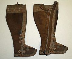 Gaiters, likely Italian, ca. 1700.  Leather and silk.