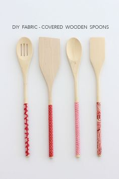 Today we are kicking off the Handmade Gift Series with a DIY fabric-covered wooden spoonS project. Diy Xmas Gifts, Handmade Gifts, Christmas Fair Ideas, Christmas Crafts, Mod Podge Crafts, Fabric Gifts, Crafts To Make And Sell, Wooden Spoons, Homemade Crafts